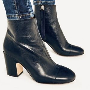NWT Zara Navy Leather Booties